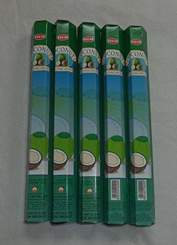 HEM Coconut 100 Incense Sticks (5 x 20 stick packs)