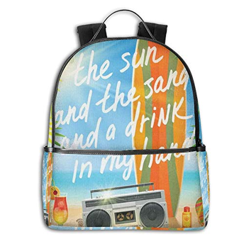 College Backpacks for Women Girls,Retro Design Tropical Beach With Surfboard Palm Leaves Flip Flops And Sunglasses,Casual Hiking Travel Daypack