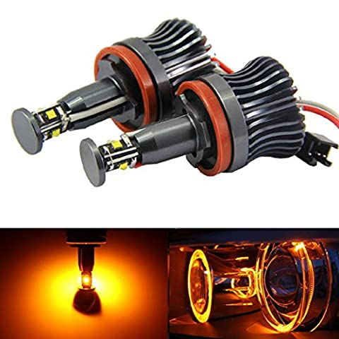 iJDMTOY 360-Degree Amber Yellow CREE 20W High Power H8 LED Angel Eyes for BMW E60 E61 E90 E92 E70 E71 E82 E89 1 3 5 Series X5 X6 (Bmw Accessories 09 328 E90)
