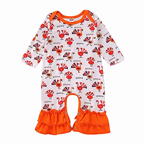 Baby Tops, Thanksgiving Newborn Baby Girl Clothes Long Sleeve Turkey Print Flared Pant Bell-Bottom Romper Jumpsuit Outfits 6M
