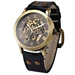 AMPM24 Men's Steampunk Bronze Skeleton Self-Winding Auto Mechanical Leather Wrist Wacth 9