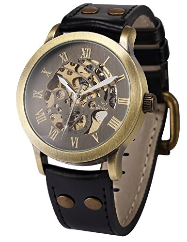 Steampunk Vintage Watch - AMPM24 Vintage Roman Steampunk Skeleton Self-Winding Mechanical Leather Band Men's Watch PMW199