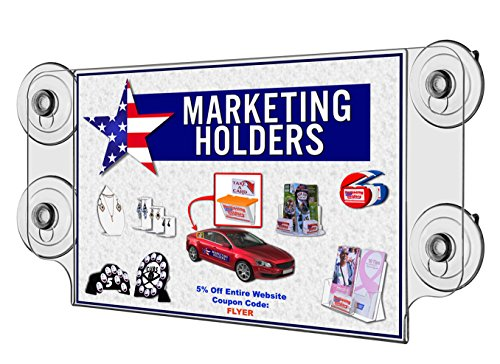 Marketing Holders LOT OF 6 Clear Acrylic 11''w x 8.5''h Ad Frame with Four Suction Cups by Marketing Holders