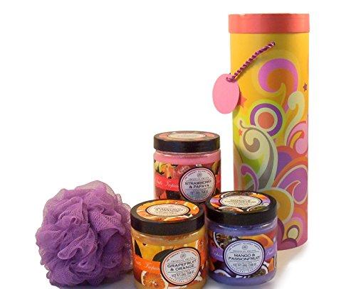 Four piece Body Care Bundle: Tropical Fruits Grapefruit & Orange Sugar Scrub, Tropical Fruits Mango & Passionfruit Sugar Scrub, and Tropical Fruits Strawberry & Papaya Sugar Scrub. Bonus: Purple Net B