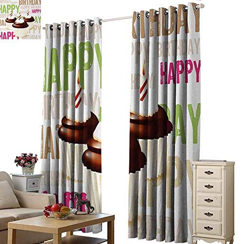 Homrkey Decor Curtains Birthday Grunge Retro Happy Birthday Pattern with Three Chocolate Cupcakes Candles Print Blackout Draperies for Bedroom Living Room W96 xL84 Multicolor