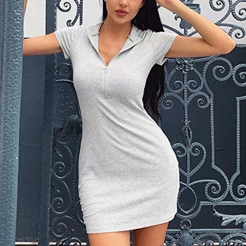 Wanghuaner Women Short Sleeve Turtleneck Bodycon Mini Dress Half Zip Up Neon Solid Color Ribbed Knitted Package Hip Party Clubwear(LG,M)
