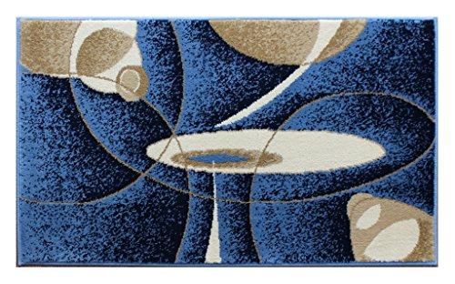 Masada Rugs, Modern Contemporary Mat Area Rug Design Bellagio 457 Blue (24 Inch X 40 Inch) (40