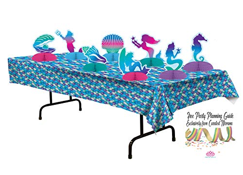 Mermaid Scales Tablecloth and Honeycomb Centerpieces (8 Count) Bundle by Curated -