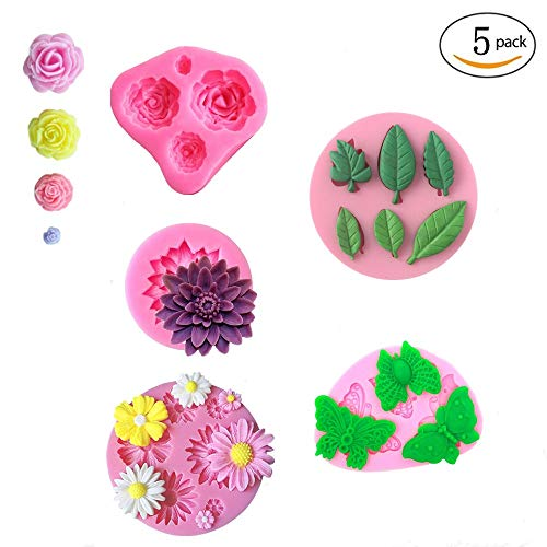 Flower Fondant Cake Molds Set-Daisy Flower/Rose Flower/Lotus Flower/Butterfly/Leaf,Fondant Candy Mold for Sugar Paste,Chocolate,Fondant,Polymer Clay,Soap,Crafting Projects & Cake Decoration(5Pcs)