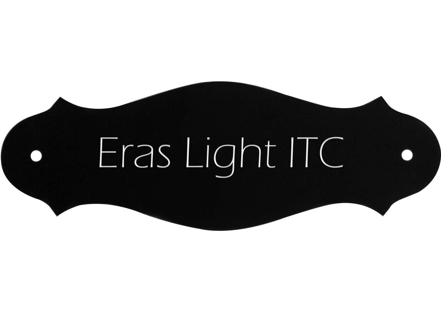 Letrero para la casa con texto personal deseado, Letrero de plá stico negro, 130 x 47 mm, curvo, tipo de letra: Eras Light ITC Letrero de plástico negro Kopierladen