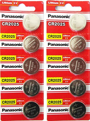 Panasonic CR2025-10 CR2025 3V Lithium Coin Battery (Pack of 10) ()