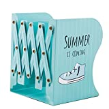 JIARI Summer Pattern Decorative Bookends Metal Heavy Duty Adjustable Bookend Book Holder Stable Book Stand Office Desk Organizer Shelf (Sky Blue)
