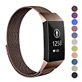 Soulen Metal Replacement Bands for Fitbit Charge 3 and Charge 3 SE Fitness Activity Tracker, Milanese Loop Stainless Steel Bracelet Strap with Magnet Lock for Women Men