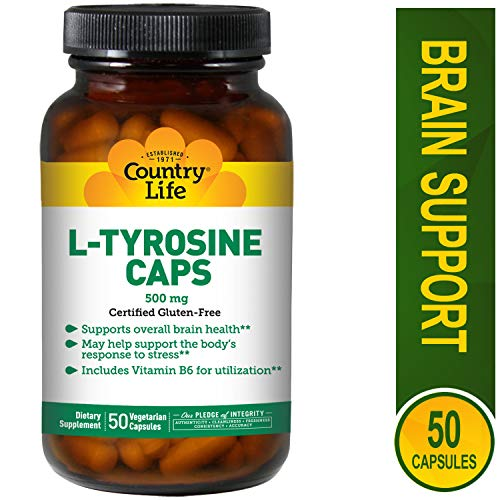 Country Life - L-Tyrosine, 500 mg with Vitamin B-6 - 50 Vegetarian Capsules