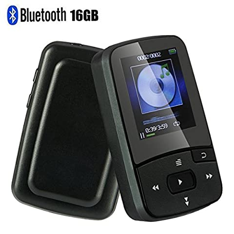 Mp3 Player with Bluetooth 16GB Support up to 64GB-Clip Sport Music Player-Black by FULITY (Armband Music Player)