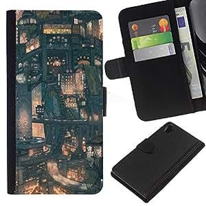 NEECELL GIFT forCITY // Billetera de cuero Caso Cubierta de protección Carcasa / Leather Wallet Case for Sony Xperia Z2 D6502 // Modelo de Futuro de la ciudad japonesa