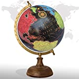 Desktop Rotating Globe Georgraphy World Map Black 8'' Inches Wood Base Educational Globe Office Table Décor