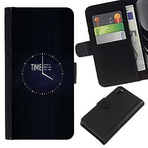All Phone Most Case / Oferta Especial Cáscara Funda de cuero Monedero Cubierta de proteccion Caso / Wallet Case for Sony Xperia Z3 D6603 // TIME - WASTE IT