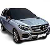 #3: Bememo (Upgraded) Magnetic Windshield Snow Cover Frost Windshield Cover Rain Resistant, Waterproof Windproof Dustproof Covers Fit Most Car SUV RV Truck, 83 x 57 x 47.2 Inch, Black