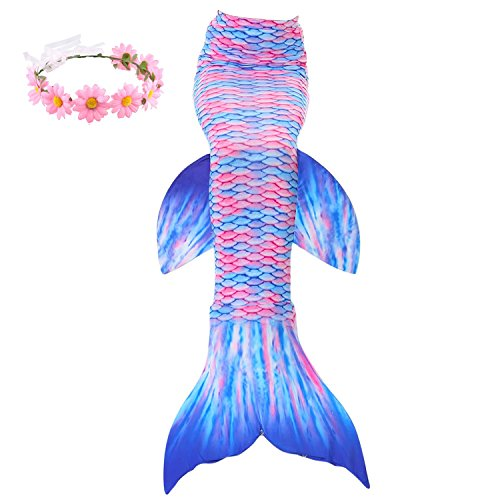 Familycrazy Mermaid with Tail Swimsuit Wet/Dry Outfit with Flower Headband (Adult Medium, Pink+Blue) for $<!--$18.99-->