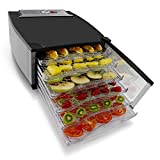 NutriChef Food Dehydrator Machine - Professional Electric Multi-Tier Food Preserver, Auto Off Timer, Meat or Beef Jerky Maker, Fruit & Vegetable Dryer with 6 Slide Out Trays & Glass Door - (PKFD52)