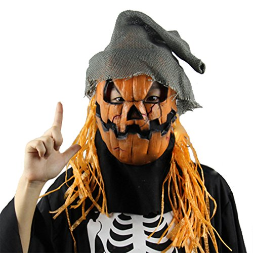 MISHIN Latex Vintage Halloween Pumpkin Scarecrow Full Head Mask Party Costumes Cosplay Prop (Halloween Costume Party Ideas)