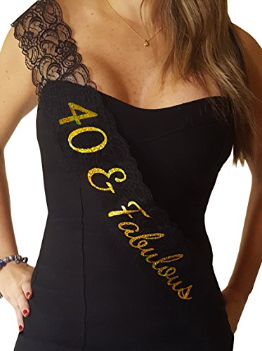 40 & Fabulous Lace Sash - 40th Birthday Sash - Great Birthday Decoration or Photo Prop