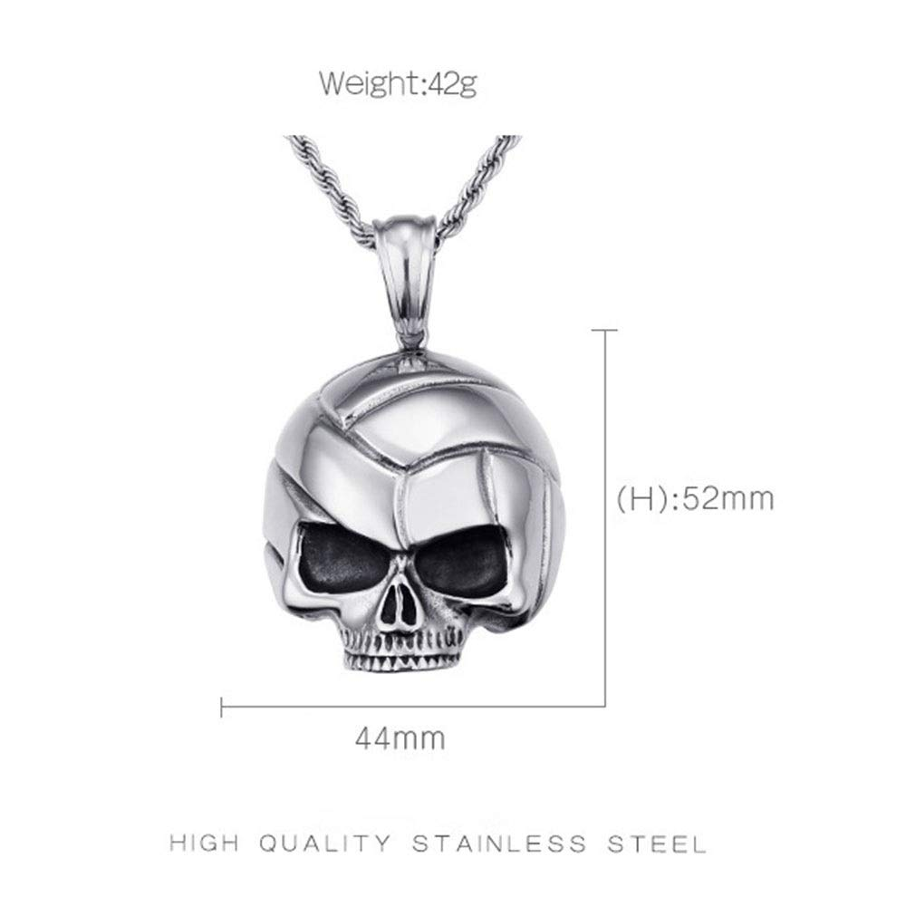 Color : Silver Black , Size : 4452MM Punk Titanium Steel Necklace Mens Silver Black Gothic Halloween Skull Pendant Stainless Steel Necklace Ideal For Teens Man Boys Stainless Steel Chain Pendant