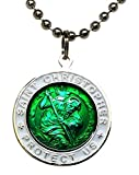 St. Christopher Surf Necklace, Large Pendant, Green with White Rim, 23 Inch Ball Chain