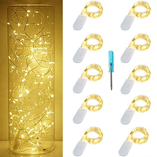 10 Pack Led Fairy String Lights, 7.2ft/2.2m 20 Moon Starry LED on Silver Coated Copper Wire - 2 x CR2032 Battery Operated Firefly Lights (Warm White)