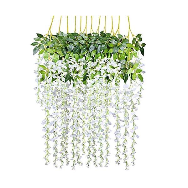 Royal Imports Artificial Wisteria Vine Flowers Silk – 12 Single Stems for Bouquet, Home Decoration, Wedding Centerpiece, Wreaths, Floral Arrangements, White