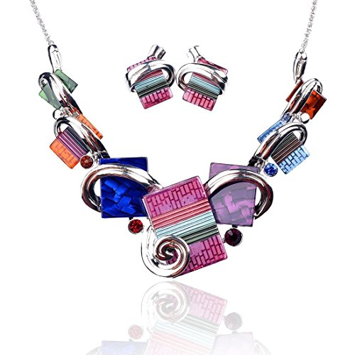 - Ginasy Vintage Costume Jewelry Acrylic Resin Charm Stone Necklace Earring Set Jewelry Set (Necklace and Earring Set Multicolored)