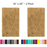 LuxUrux Bathroom Rug Mat Set–Extra-Soft Plush Bath mat Shower Bathroom Rugs 16 x 24 inch Set,1'' Chenille Microfiber Material, Super Absorbent. (Rectangular Mini Set, Marzipan)
