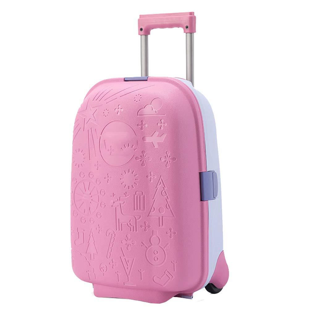 トロリースーツケースの児童スーツケース男子学生のスーツケースは、女性の17インチのピンクのおもちゃの王女の赤ちゃんのトロリーケースに座ることができます   B07KTZX867