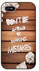 Don't be afraid of making mistakes - Wood effect - Bible verse IPHONE 5C black plastic case / Christian Verses