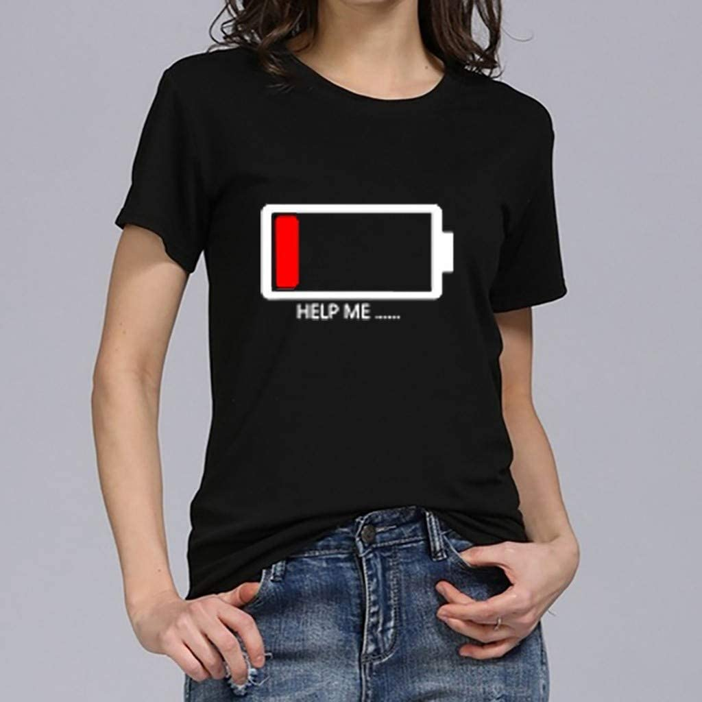 Womens Short Sleeve Tops,Pocciol Casual Letter Printed T Shirts Spring Summer Loose Crew Neck Tees