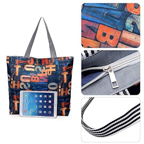 Shopper Toile 7 Sac Voyage Toile Beach Sac 3 Épaule à bandoulière Impression JAGENIE Shopping fT4q5Zwvnx