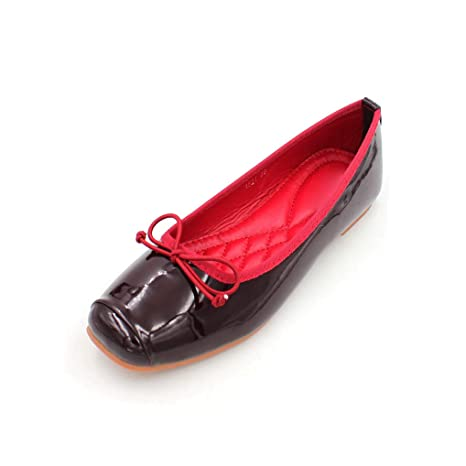 de0c66a4e7a79 Amazon.com: August Jim Women's Red Flat Shoes Casual Slip-on Leather ...