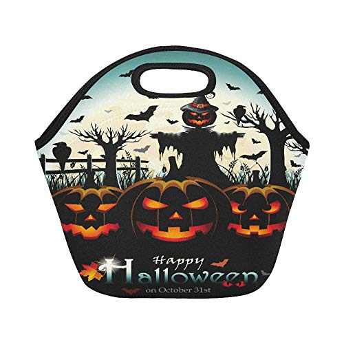 Insulated Neoprene Lunch Bag Halloween Design With Pumpkins And Scarecrow In Fr Large Size Reusable Thermal Thick Lunch Tote Bags For Lunch Boxes For Outdoors,work, Office, School
