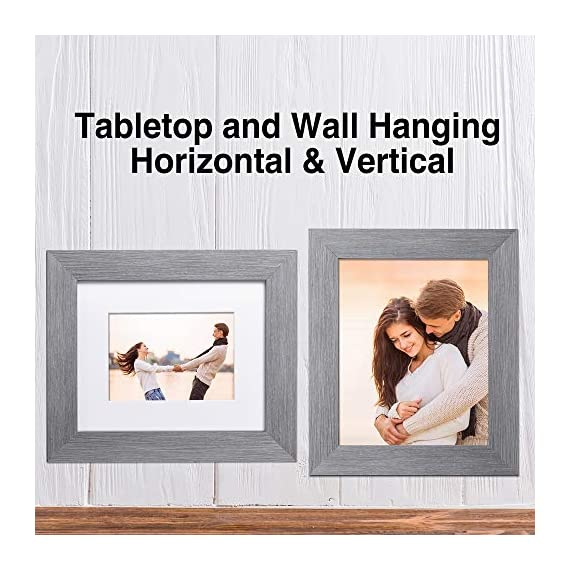 LaVie Home 8x10 Picture Frames (3 Packs, Gray) with Flat Mat for 5x7 Photo and High Definition Glass, for Wall Mount & Tabletop Display, Set of 3 Serendipity Collection - ELEGANT DESIGN - LaVie Home 8 x 10 picture frame is designed with a wide frame, slightly woodgrain pressing process makes it comparable with the solid wood frame. It looks bright and tasteful, fits any decor,whether it's modern or vintage. HIGHEST QUALITY - Crafted by Durable PS (acrylic-resin) molding construction, clean lines with attractively artificial wood texture finished. Every frame made with perfect attention to details. WALL MOUNT or TABLE TOP - Includes hanger hooks to easily hang artwork or photographs in either portrait or landscape orientation. Versatile kickstand easel lets you display horizontally or vertically to fit in the space available. - picture-frames, bedroom-decor, bedroom - 51Y N6QA%2BNL. SS570  -