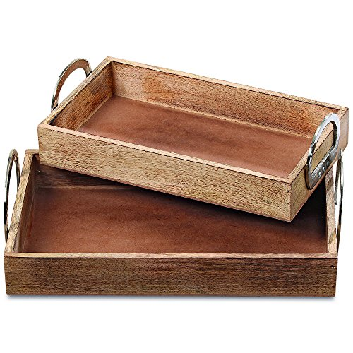 [The Crosby Street Silver Handled Trays, Set of 2, Mango Wood with Silver Aluminum Handles, Padded Bottoms, 16 1/8 and 14 1/8 Inches, By Whole House Worlds] (Nesting Wood Trays)