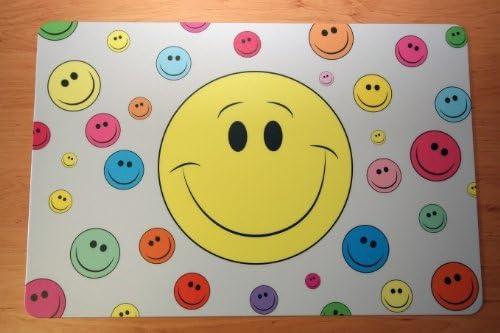 Schreibtischunterlage Smiley gelb gross mit kleinen bunten Smileys 40 x 60 cm abwischbar grau rot grün blau