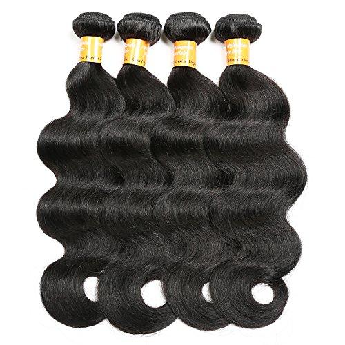 Malaysian Hair 4 Bundles,QueenStar Malaysian Virgin Body Wave 12 14 16 18 Inch Natural Color Raw Unprocessed 100% Human Hair Virgin Body Wave Hair Weave Grade 7A