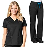 Maevn Blossom 3 Pocket V-Neck Scrub Top & Utility Pocket Cargo Scrub Pant Set