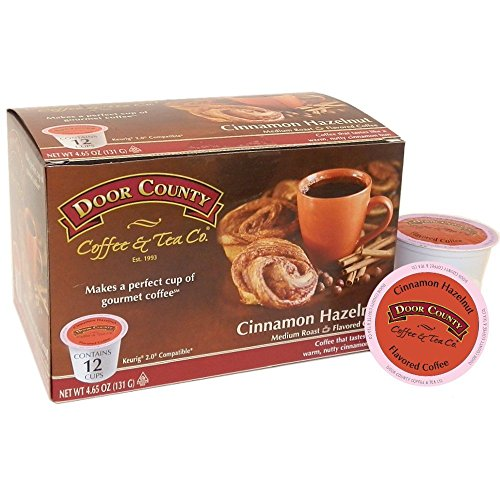 Door County Coffee Single Serve Cups for Keurig Brewers (Cinnamon Hazelnut, 12 Count)