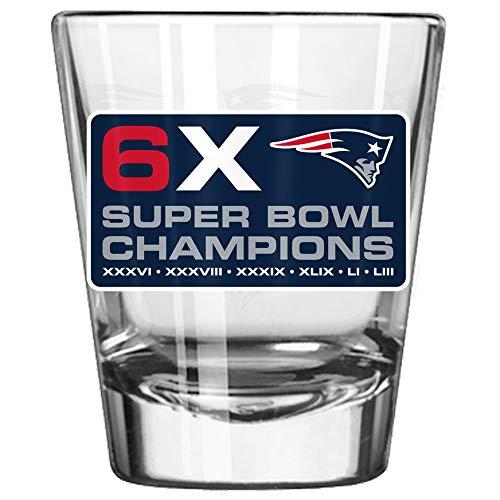 New England Patriots 6 Time Super Bowl Champions Satin Etch 2 Ounce Shot Glass Champions 2 Oz Shot Glass