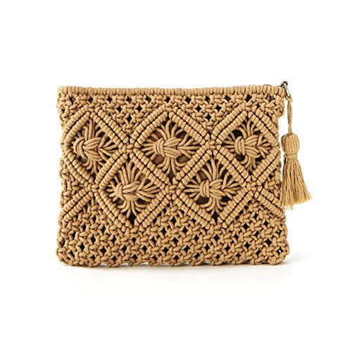 (Large Straw Clutch Handbags with Tassel Envelope Purse Wallet Summer Beach Bag (Brown))