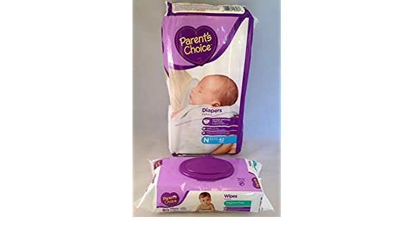 Amazon.com : Parents Choice Newborn 42 Count Diapers & Parents Choice Fragrance Free Wipes, 80 Count (Bundle Pack of 2 Items) : Baby