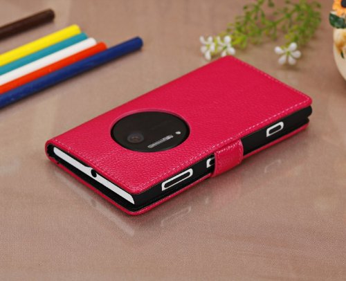 Wkae Superficie mate Lichi patron de la piel cubierta de la caja protectora de cuero con efectivo y tarjeta slotf para Nokia 1020, n530, n735, n830 ( Color : Black , Size : N735 ) Rose
