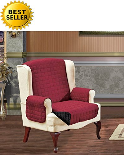 #1 Best Seller Reversible Furniture Protector! Elegance Linen® Luxury Slipcover/Furniture Protector Great for Pets & Children with STRAPS TO PREVENT SLIPPING OFF, Wing Chair, (Burgundy Wing Chair Slipcover)